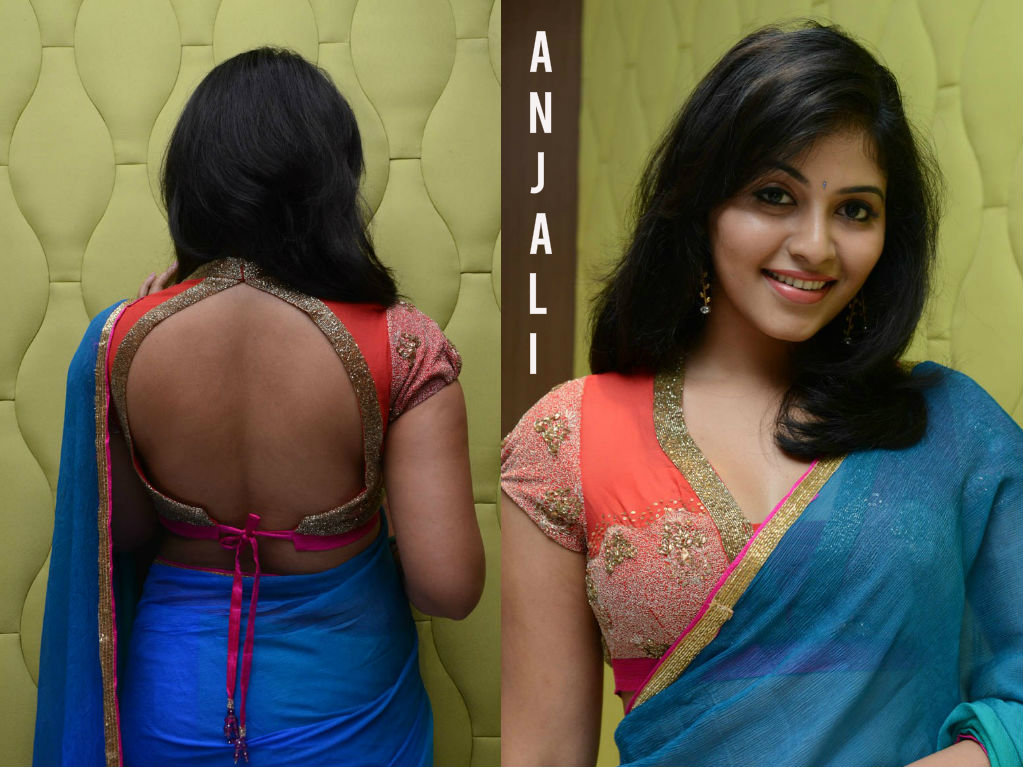Actress Anjali Back And Side Boobs Show In Blue Saree -5771