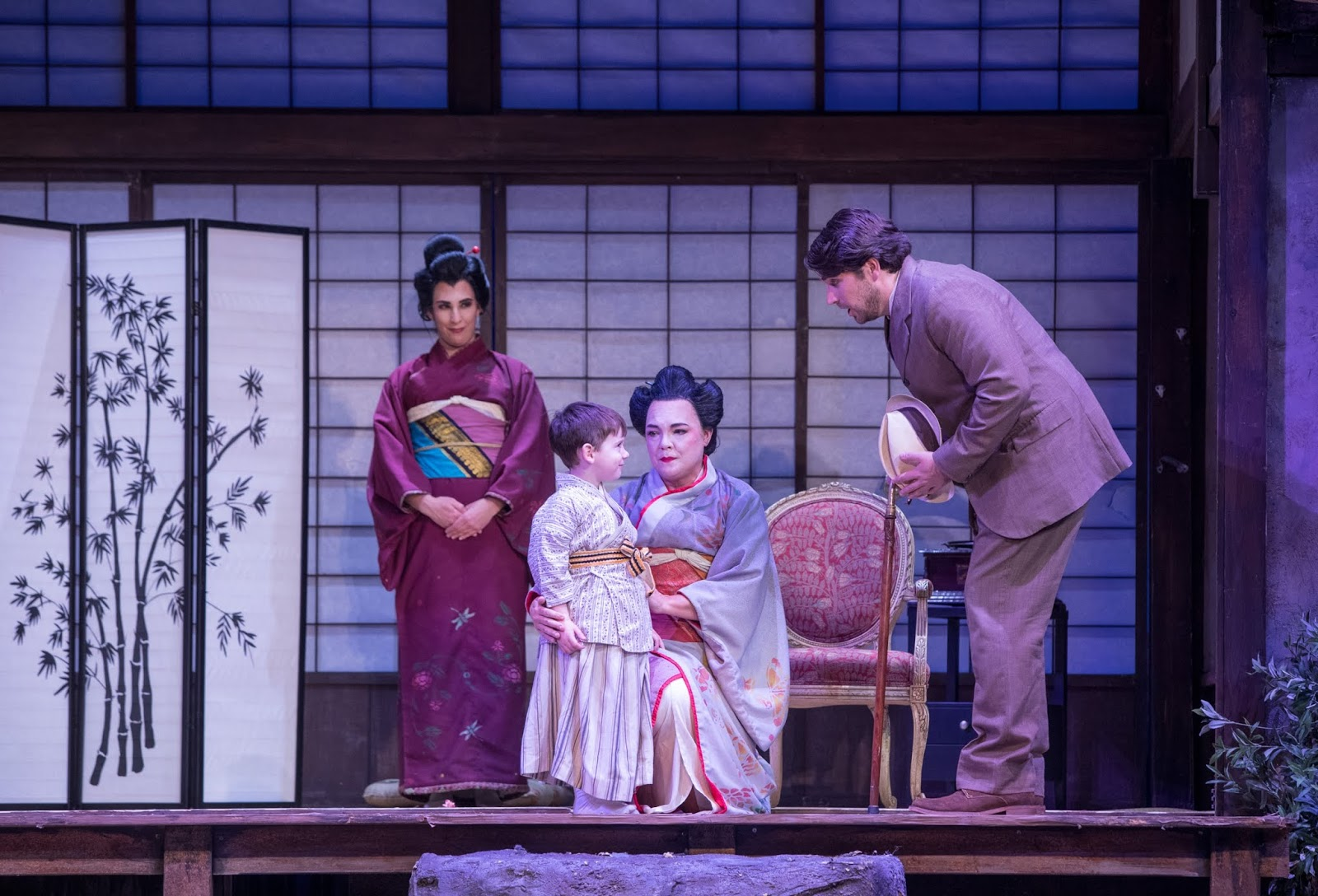 IN REVIEW: (from left to right) mezzo-soprano STEPHANIE FOLEY DAVIS as Suzuki, SAMUEL PERSHALL as Dolore, soprano JILL GARDNER as Cio-Cio-San, and baritone DAVID PERSHALL as Sharpless in Greensboro Opera's production of Giacomo Puccini's MADAMA BUTTERFLY, 9 November 2018 [Photo by Vanderveen Photography, © by Greensboro Opera]