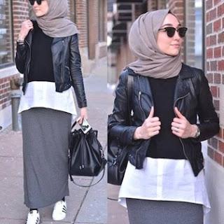 Gambar Jaket Kulit Wanita Muslimah Modern