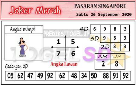 Pred Joker Merah SGP Sabtu 26 September 2020