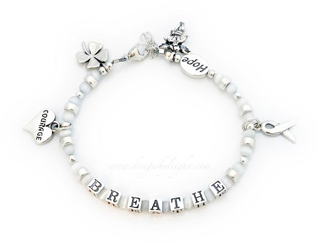 Breathe Charm Bracelet - Courage in a Heart Charm, Shamrock Charm, Angel Charm and a Ribbon Charm