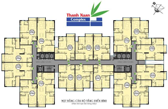 Mặt bằng điển hình từ tầng 5 – 24 chung cư Hapulico 24T3