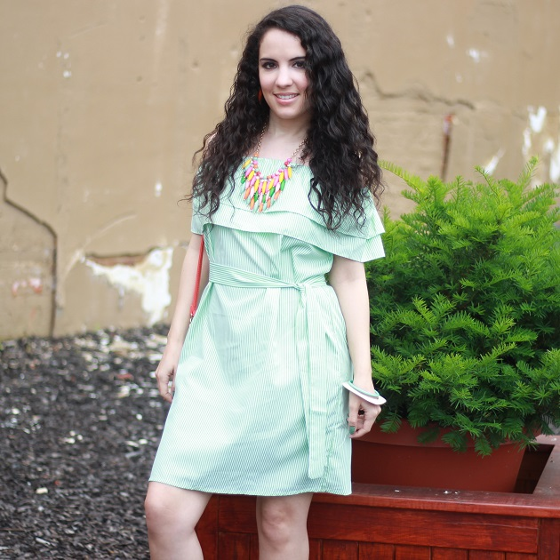 Green Striped OTS Dress