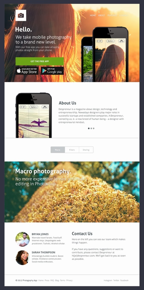 Free App Website PSD Template
