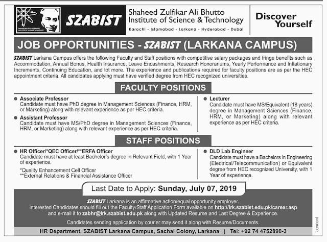 Jobs In Shaheed Zulfikar Ali Bhutto Institute Of Science & Technology 02 Jul 2019