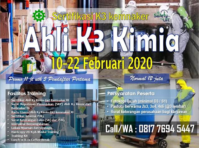 Ahli K3 Kimia kemnaker tgl. 10-22 Februari 2020 di Jakarta