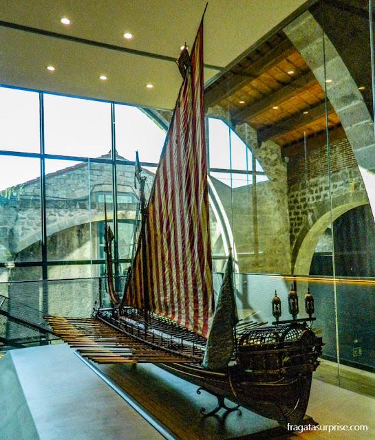 Maquete da Galera Real da Batalha de Lepanto, no Museu Marítimo de Barcelona
