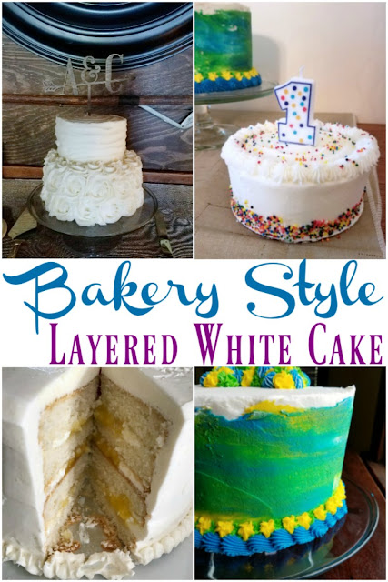 A delicious homemade bakery style white cake that has a great texture and is sturdy enough for stacking layers. It's perfect for diy wedding cakes, fun birthday cakes or any special occasion!