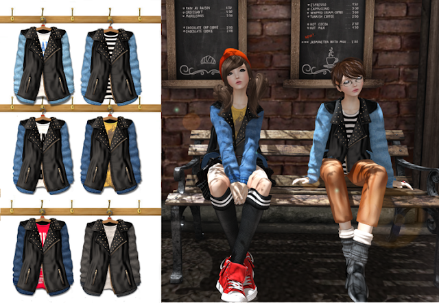 {amiable}Leather and Denim Unisex Jacket