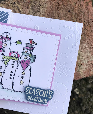 handmade snowman christmas card using retired and current stampin up products.