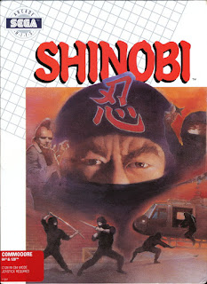 Carátula del Shinobi del Commodore 64 y 128 de Shinobi (1989)