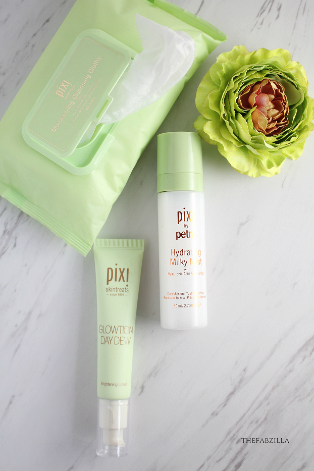 Pixi Hydrating Milky Mist,Pixi Glowtion Daydew, Pixi Moisturizing Cleansing Cloths, Pixi H20 Skindrink, Pixi Hydrating Milky Serum  Review