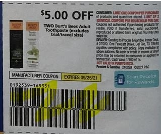 """$5.00/2-Burt's Bees Adult Toothpaste Coupon from """"P&G"""" insert week of 8/29/21."""