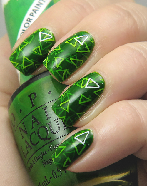 Nail Art: Green for #31DC2016 // Geometric Layered Pond Mani with ...