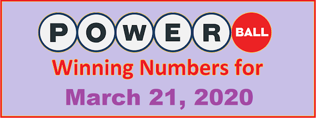 PowerBall Winning Numbers for Saturday, March 21, 2020