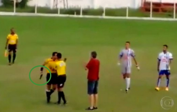 referee gun football match brazil