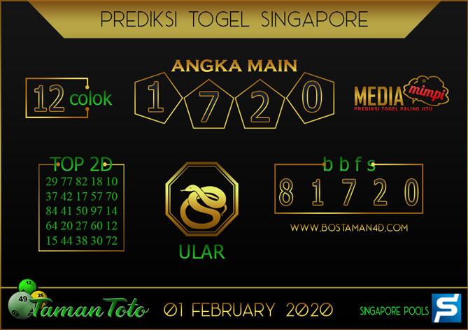Prediksi Togel SINGAPORE TAMAN TOTO 01 FEBRUARY 2020