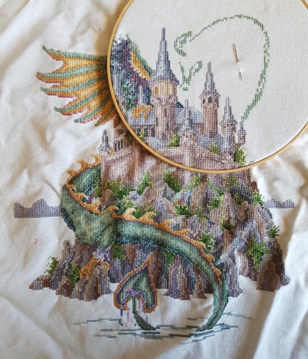 Dragon cross stitch in progress | DevotedQuilter.com