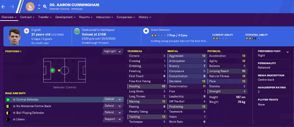 Aaron Cunningham Football Manager 2020