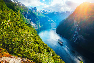 Norwegian fjord with cruise