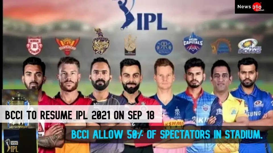 Latest IPL 2021 News, BCCI to Resume the Remaining IPL 2021 Matches on September 18, at UAE, IPL Allow 50% of Spectators in Stadium