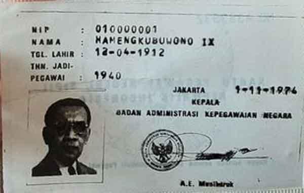 Karpeg dan Nip PNS Pertama Sri Sultan HB IX