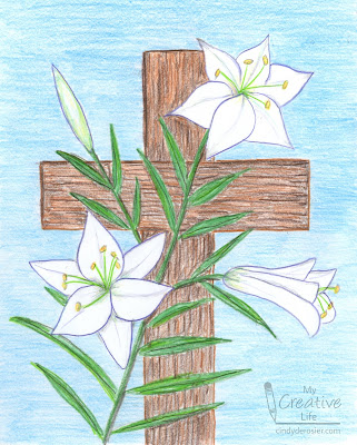 Easter lily drawing