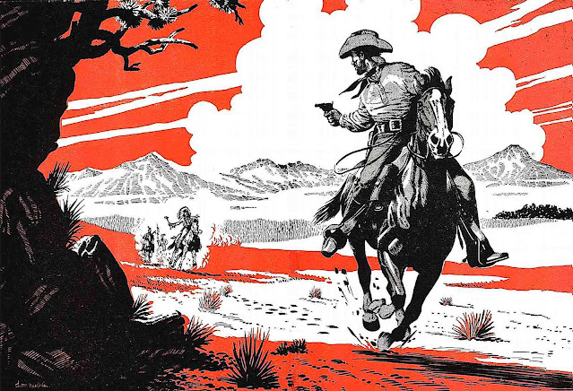 an illustration by Denis McLoughlin of cowboys and Indians in black and red