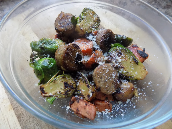 Leftovers deserve a good repurposing (Brussels sprouts, sweet potato and chicken sausage saute.)