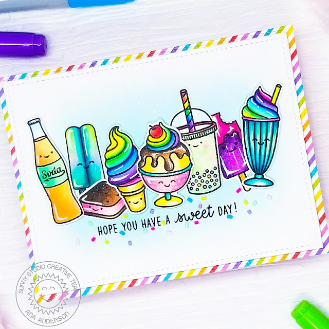 Sunny Studio Stamps: Summer Sweets Frilly Frame Dies Dessert Themed Birthday Card by Ana Anderson