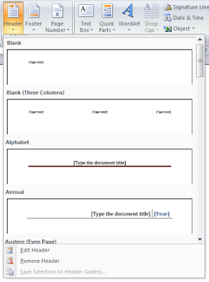 Header and Footer in Ms Word