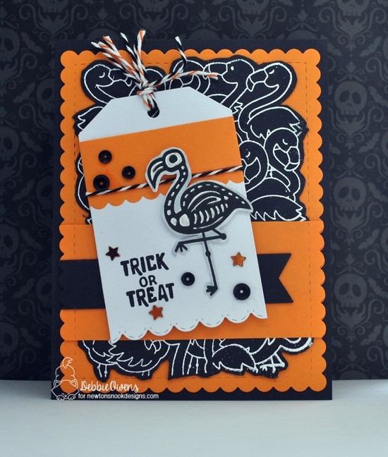 Trick of Treat by Debbie features Flamingo Flock, Spooky Skeletons, Fancy Edges Tag, and Frames & Flags by Newton's Nook Designs; #newtonsnook