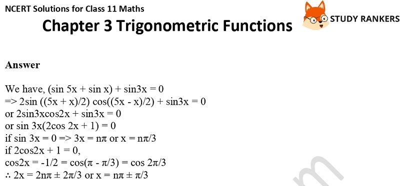 NCERT Solutions for Class 11 Maths Chapter 3 Trigonometric Functions 17