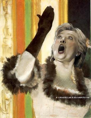 fotomontaggi di politici e celebrità-Capolavori dell'arte con personaggi famosi. Hillary Clinton in Cantante con guanto-Edgar Degas