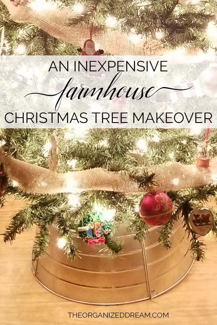 An inexpensive farmhouse Christmas tree makeover with a tree collar and buffalo plaid ribbon!     #farmhouse #christmas #homedecor #holiday