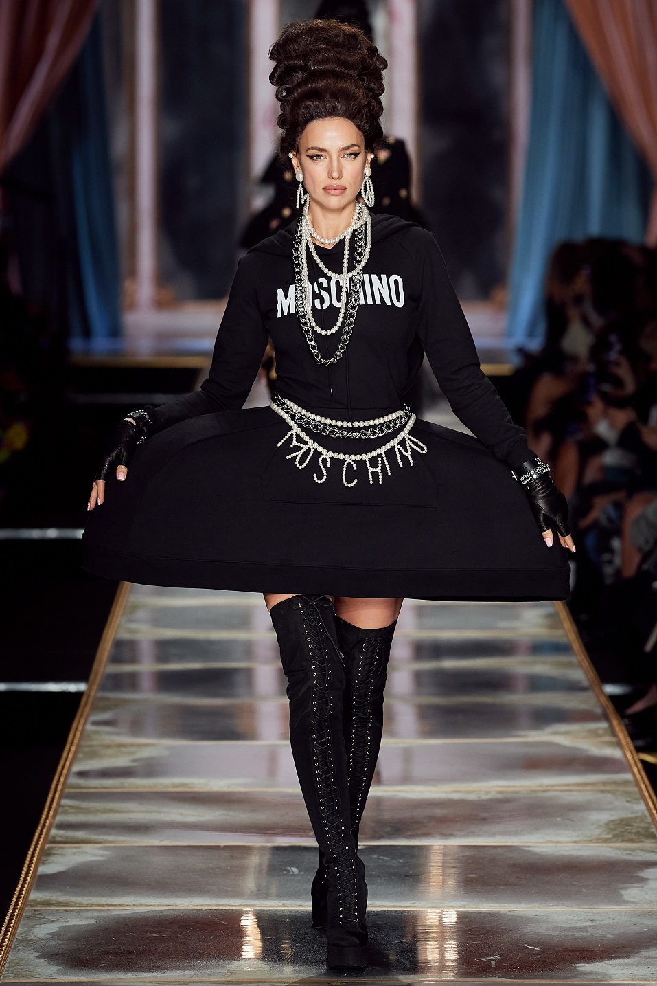 Irina Shayk walked the Moschino fall 2020 catwalk in sky-high wigs inspired by Marie-Antoinette
