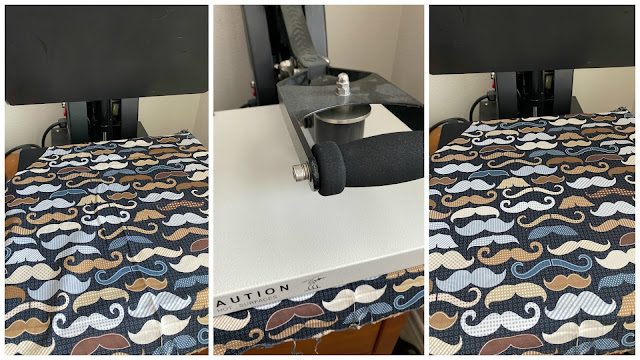 Press your piece of fabric with a heat press, fabric, fabric mask, rotary blade, slap a piece of fabric on your cutting mat and cut no stabilizer requried