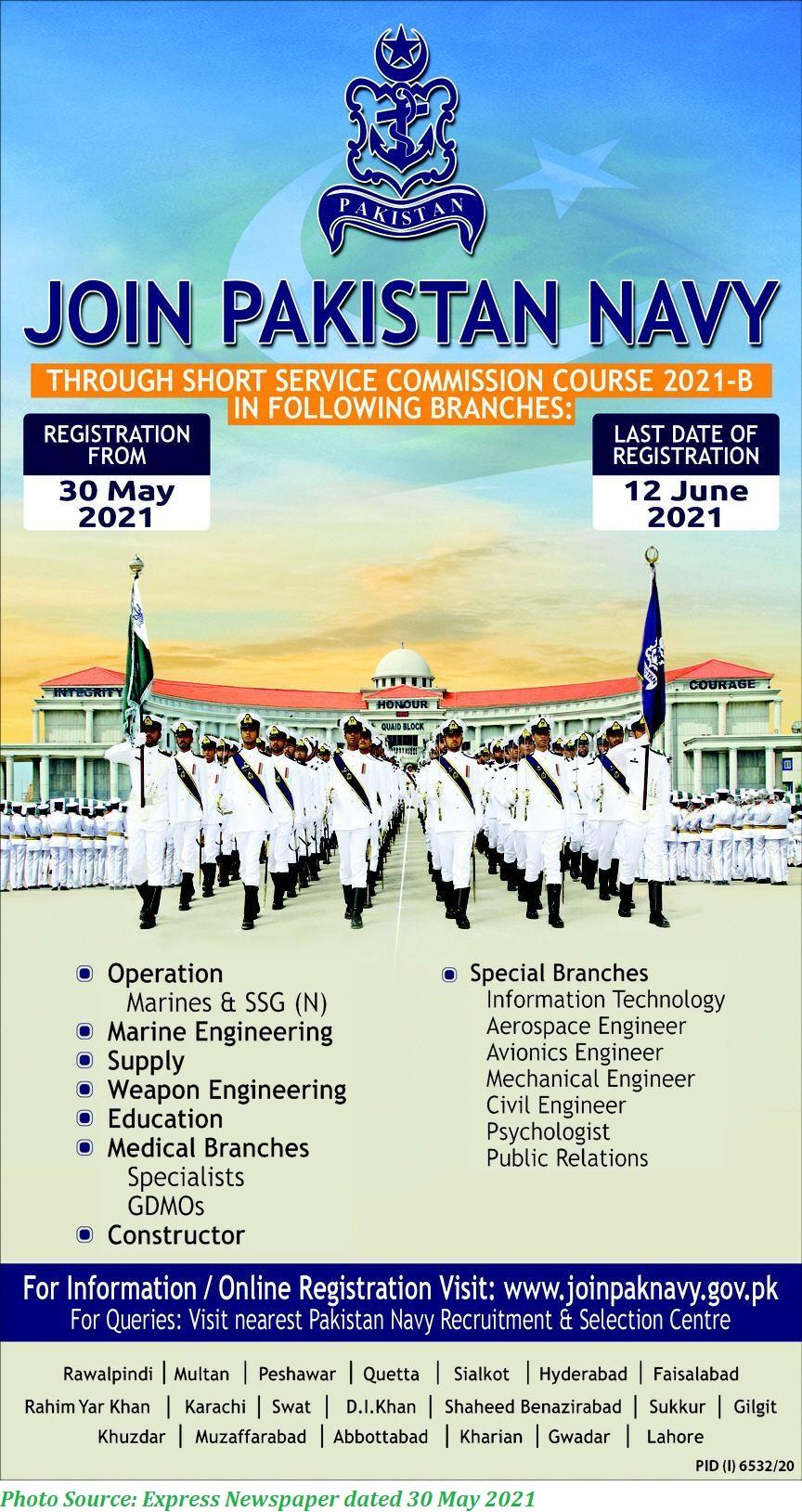 Join Pak Navy 2021 Short Service Commission Course 2021-B Apply Online www.joinpaknavy.gov.pk