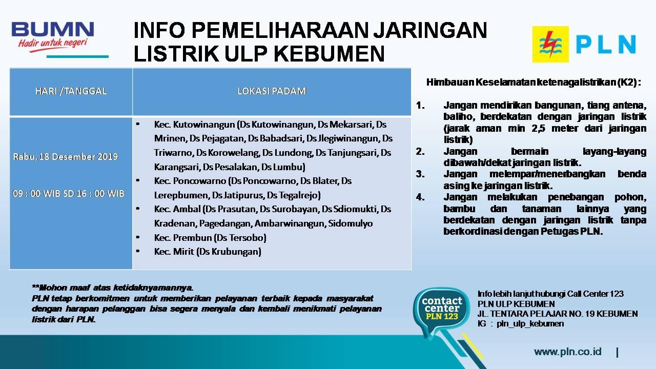 Catat! 16-19 Desember 2019 Ada Pemadaman Listrik di Wilayah Kebumen
