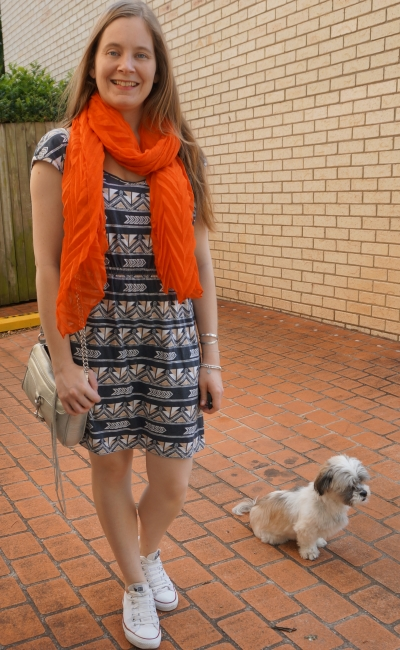 orange crinkle scarf with aztec print elasticated waist dress and white Converse Chucks silver mini MAC bag | away from blue