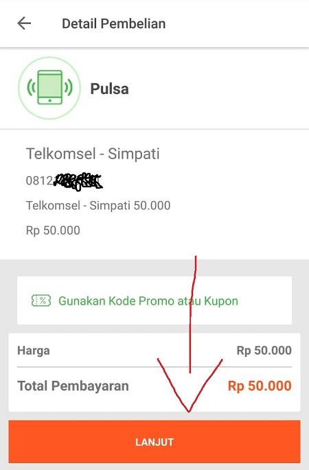 Detail Pembelian Pulsa Tokopedia