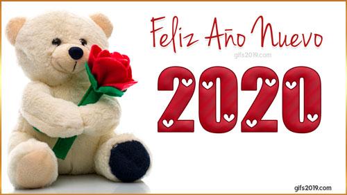 feliz año nuevo 2020 peluche con rosa