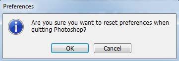 Reset settingan photoshop untuk mengembalikan pengaturan ke awal