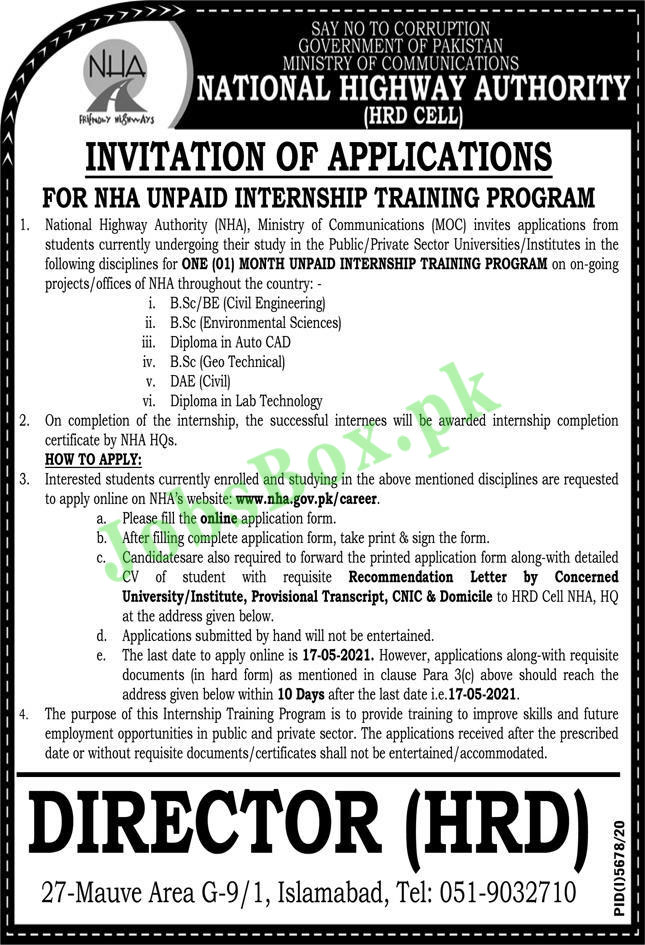 Latest National Highway Authority NHA Jobs 2021