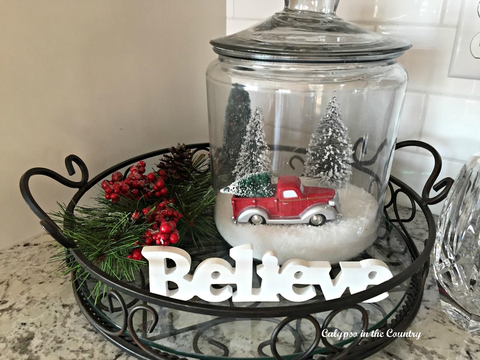 Snow scene inside jar