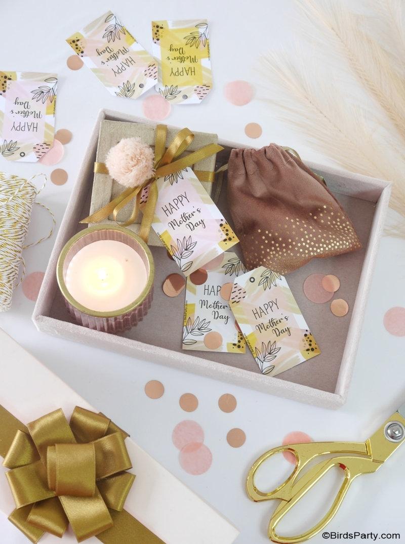 Étiquettes-cadeaux imprimables GRATUITES pour la fête des mères - jolies étiquettes-cadeaux d'art abstrait inspirées de line art  moderne!