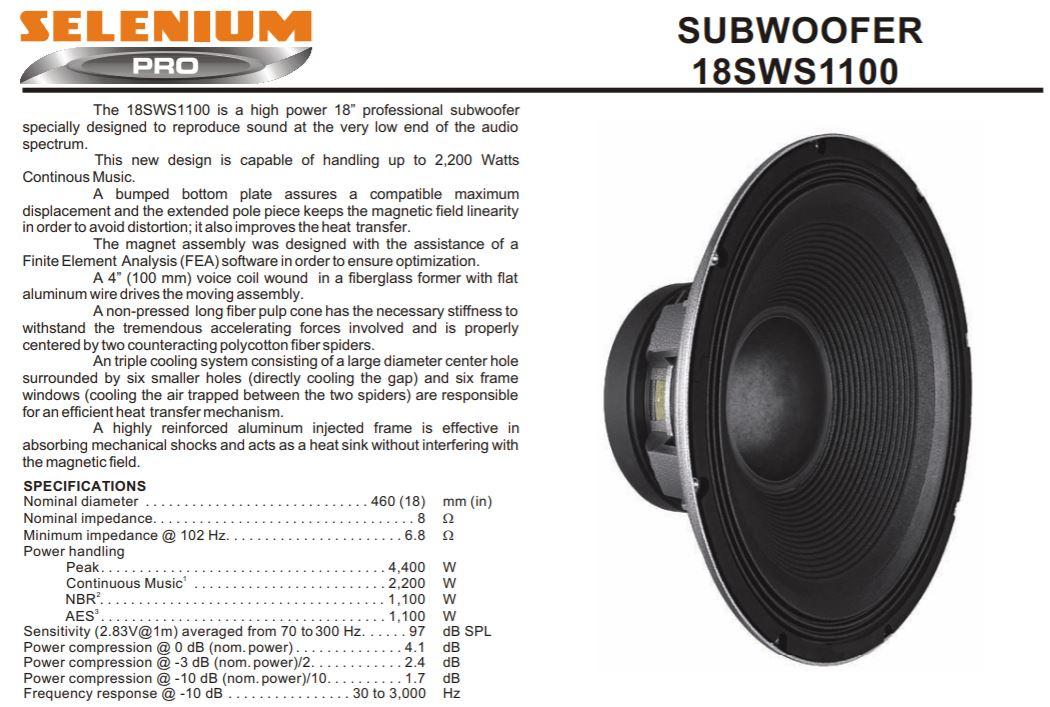 Selenium 18WS series spec detail