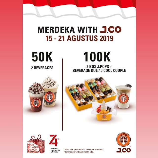 #JCO - #Promo Special Harga Kemerdekaan 2 Beverage 50K  & 2 Box 100K (15 - 21 Agustus 2019)