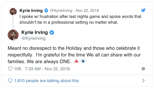 Celtics' Kyrie Irving says he meant 'no disrespect' with 'f--- Thanksgiving' comment after Wednesday loss to Knicks