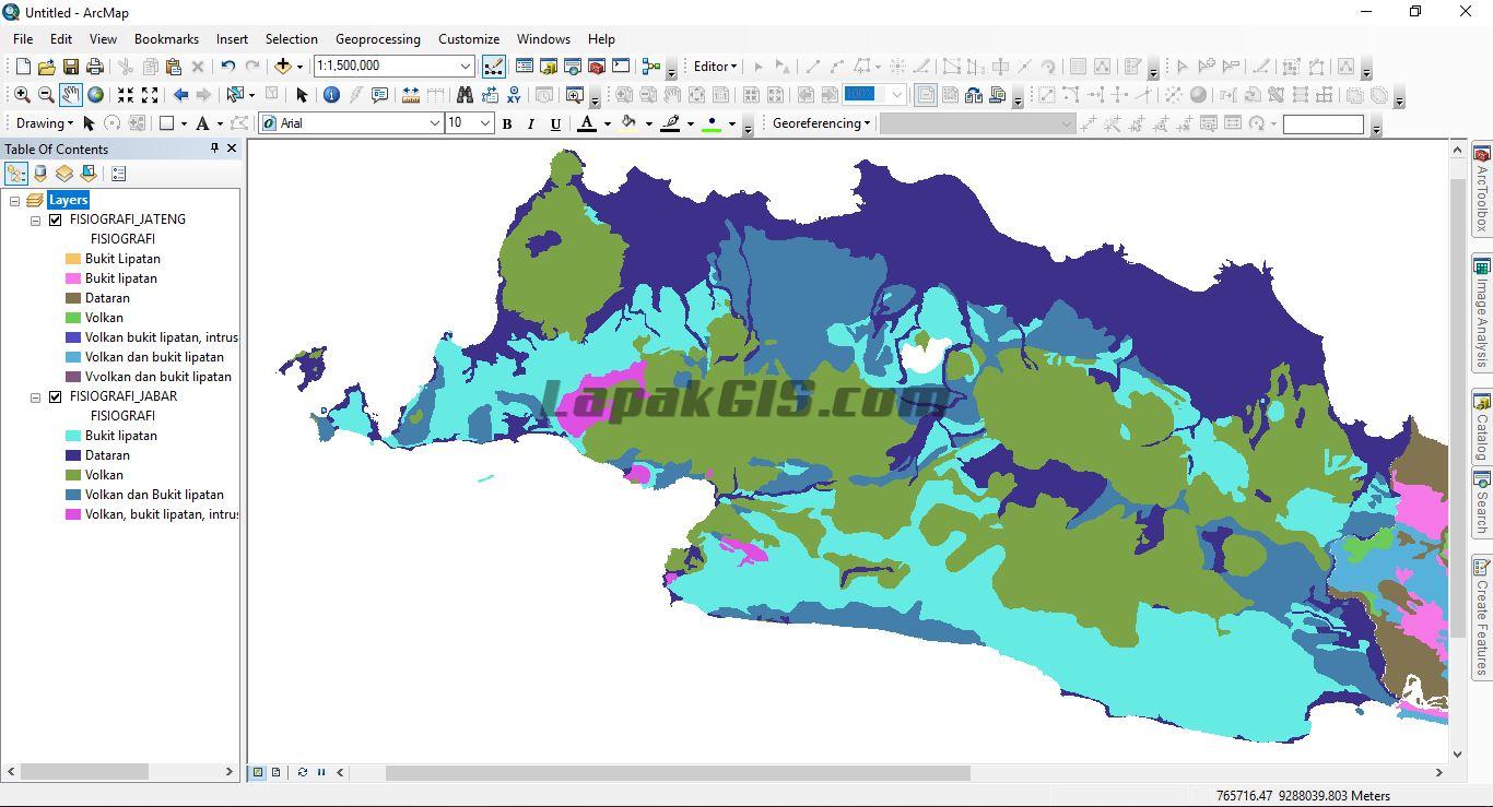 Shapefile Peta Fisiografi Pulau Jawa - Format SHP Gratis